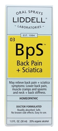 Liddell Laboratories - Back Pain + Sciatica Homeopathic Oral Spray - 1 oz.