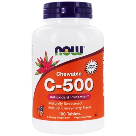 DROPPED: NOW Foods - Vitamin C-500 Chewable Cherry-Berry 500 mg. - 100 Chewable Tablets