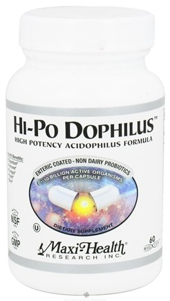 DROPPED: Maxi-Health Research Kosher Vitamins - Hi-Po Dophilus High Potency Acidophilus Formula - 60 Capsules CLEARANCED PRICED