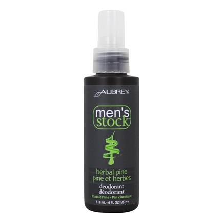 Aubrey Organics - Men's Stock Natural Dry Herbal Pine Deodorant - 4 oz.