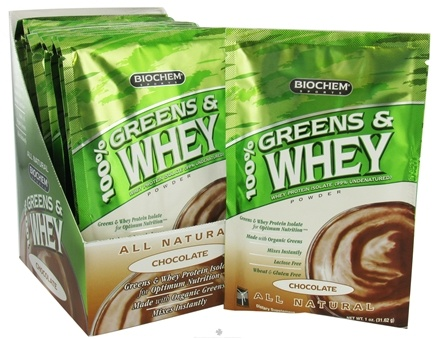 DROPPED: Biochem by Country Life - 100% Greens & Whey Powder Packet Chocolate - 1 oz. CLEARANCE PRICED