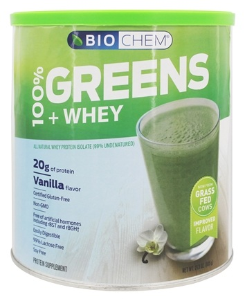 Biochem by Country Life - 100% Greens & Whey Powder Vanilla - 21.3 oz.