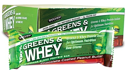 DROPPED: Biochem by Country Life - Greens & Whey Protein Bar Chocolate Coated Peanut Butter - 2.1 oz. CLEARANCE PRICED