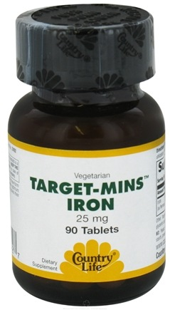 DROPPED: Country Life - Target Mins Iron 25 mg. - 90 Tablets CLEARANCE PRICED