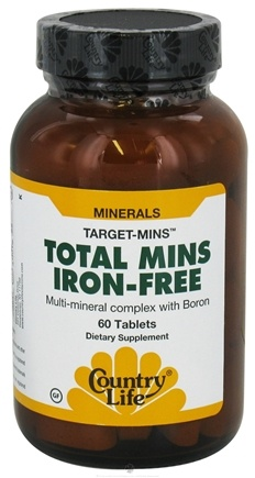 DROPPED: Country Life - Target-Mins Total Mins Iron-Free Multi-Mineral Complex with Boron - 60 Tablets CLEARANCE PRICED