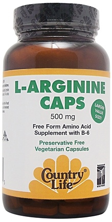DROPPED: Country Life - L-Arginine Caps Free Form Amino Acid Supplement with B-6 500 mg. - 50 Vegetarian Capsules CLEARANCE PRICED