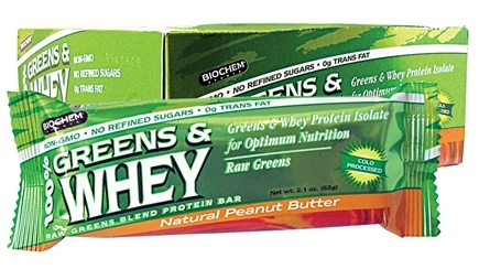 DROPPED: Biochem by Country Life - Greens & Whey Protein Bar Natural Peanut Butter - 2.1 oz. CLEARANCE PRICED