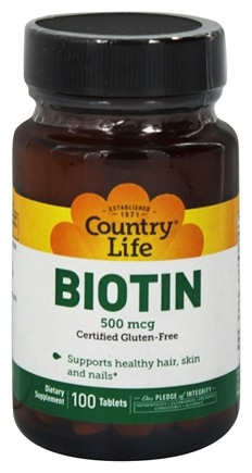 Country Life - Biotin 500 mcg. - 100 Vegetarian Tablets