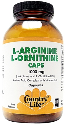 DROPPED: Country Life - L-Arginine/L-Ornithine Caps with B-6 - 60 Capsules