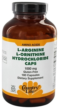Country Life - L-Arginine L-Ornithine Caps Amino Acid Complex with Vitamin B-6 1000 mg. - 180 Capsules
