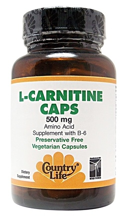 DROPPED: Country Life - L-Carnitine With B-6 Amino Acid Supplement 500 mg. - 30 Capsules