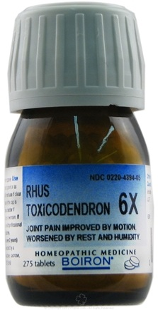 DROPPED: Boiron - Rhus Toxicodendron 6 X - 275 Tablets