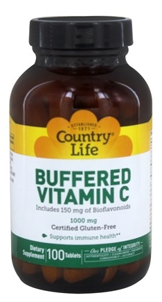 Country Life - Buffered Vitamin C Time Release Plus 150 mg of Bioflavanoids 1000 mg. - 100 Tablets