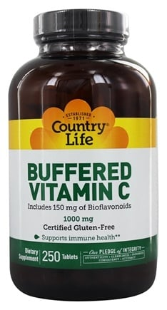 Country Life - Buffered Vitamin C Plus 150 mg of Bioflavonoids 1000 mg. - 250 Tablets