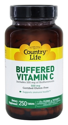 Country Life - Buffered Vitamin C Plus 100 mg of Bioflavonoids 500 mg. - 250 Tablets Formerly Time Release