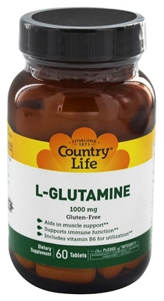 DROPPED: Country Life - L-Glutamine Free Form Amino Acid Supplement with B-6 1000 mg. - 60 Tablets