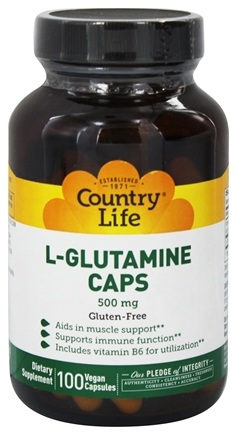DROPPED: Country Life - L-Glutamine Caps Free Form Amino Acid Supplement with B-6 500 mg. - 100 Vegetarian Capsules
