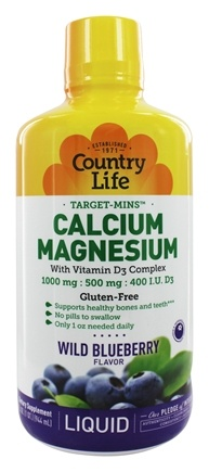 Country Life - Liquid Target-Mins Calcium-Magnesium with Vitamin D3 Complex Natural Wild Blueberry Flavor - 32 oz.