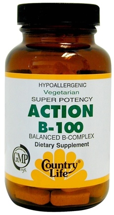DROPPED: Country Life - Action B-100 Balanced B-Complex Super Potency - 100 Vegetarian Tablets