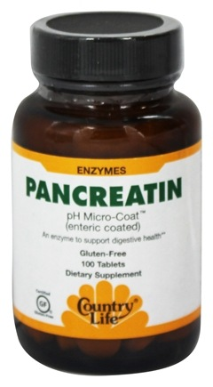 Country Life - Pancreatin Super Strength pH Micro-Coat Enteric Coated 1400 mg. - 100 Tablets