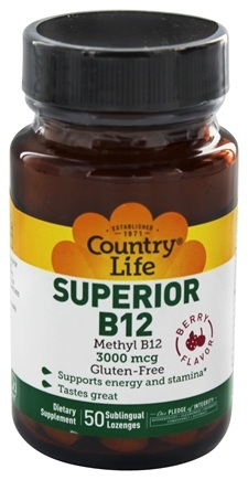 Country Life - Superior B-12 Sublingual Berry Flavor 3000 mcg. - 50 Lozenges