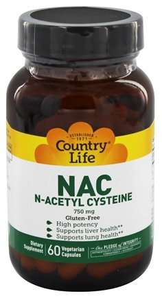 Country Life - NAC (N-Acetyl Cysteine) 750 mg. - 60 Vegetarian Capsules Formerly Biochem
