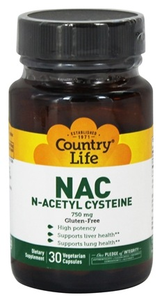 DROPPED: BioChem by Country Life - NAC (N-Acetyl Cysteine) 750 mg. - 30 Capsules