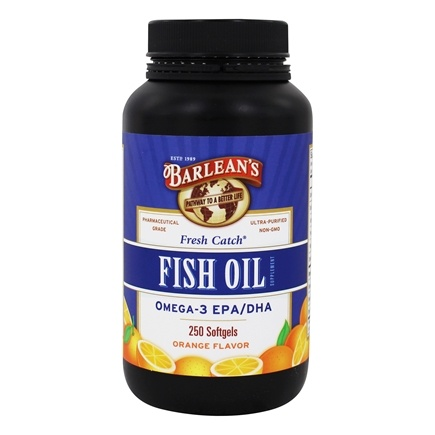 Barlean's - Fresh Catch Fish Oil Omega-3 EPA/DHA Orange Flavor 1000 mg. - 250 Softgels