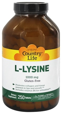 Country Life - L-Lysine Amino Acid Supplement with B-6 1000 mg. - 250 Tablets