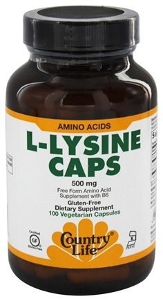 Country Life - L-Lysine Free Form Amino Acid Supplement with B-6 500 mg. - 100 Vegetarian Capsules
