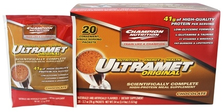 Champion Performance - Ultramet Original Scientifically Complete High-Protein Meal Supplement Chocolate - 20 x 2.7 oz. Packets