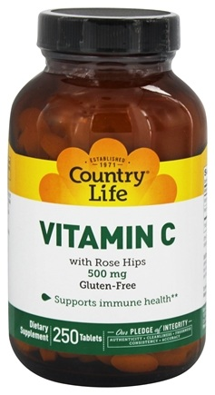 Country Life - Vitamin C with Rose Hips 500 mg. - 250 Tablets LUCKY DEAL