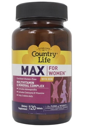 Country Life - Maxi-Sorb Maxine Daily Multiple For Women with Iron - 120 Tablets Formerly Called (Women's Multi-Vitamin)