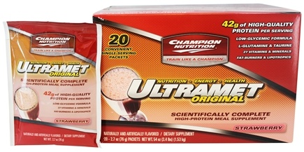 Champion Performance - Ultramet Original Scientifically Complete High-Protein Meal Supplement Strawberry - 20 x 2.7 oz. Packets