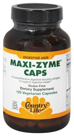 Country Life - Maxi-Zyme Caps Digestive Aid - 120 Vegetarian Capsules