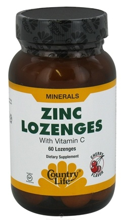 DROPPED: Country Life - Zinc Lozenges with Vitamin C Cherry Flavor - 60 Lozenges CLEARANCE PRICED