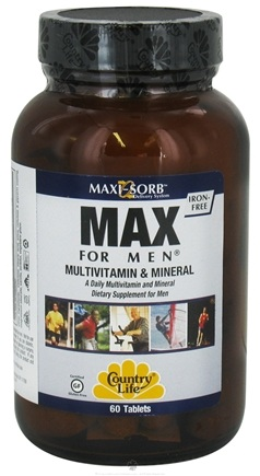 DROPPED: Country Life - Maxi-Sorb Max For Men Multivitamin & Mineral Iron-Free - 60 Tablets CLEARANCE PRICED