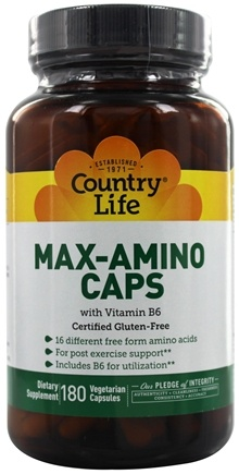 Country Life - Max-Amino Caps with Vitamin B-6 - 180 Vegetarian Capsules