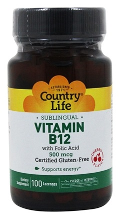 Country Life - Vitamin B12 with Folic Acid Sublingual Natural Cherry Flavor 500 mcg. - 100 Lozenges