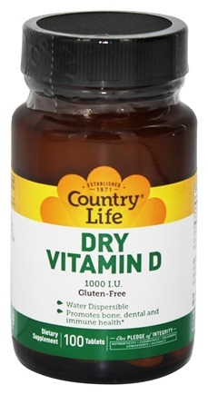 Country Life - Dry Vitamin D 1000 IU - 100 Vegetarian Tablets