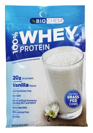 Biochem by Country Life - 100% Whey Protein Powder Packet Vanilla - 1.07 oz.