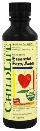 Child Life Essentials - Essential Fatty Acids Organic Oil Blend Natural Orange - 8 oz.