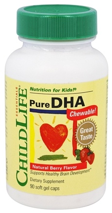 Child Life Essentials - Pure DHA Chewable Berry 250 mg. - 90 Softgels