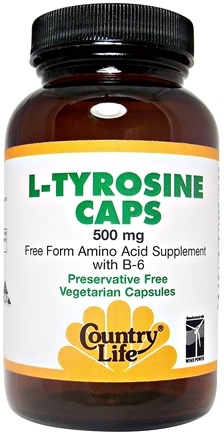 DROPPED: Country Life - L-Tyrosine Caps Free-Form Amino Acid Supplement with B-6 500 mg. - 50 Vegetarian Capsules CLEARANCE PRICED