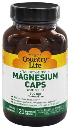 Country Life - Target-Mins Magnesium Caps with Silica 300 mg. - 120 Vegetarian Capsules