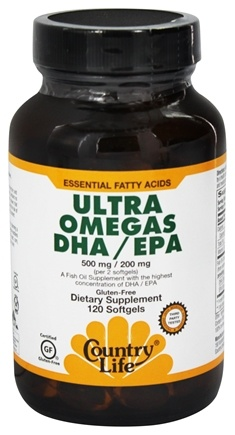 Country Life - Ultra Omega's DHA/EPA 500 mg/200 mg - 120 Softgels