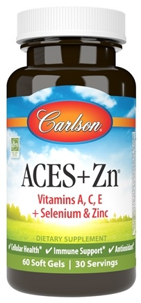 Carlson Labs - ACES + Zn Vitamins A, C, E Plus Selenium and Zinc - 60 Softgels