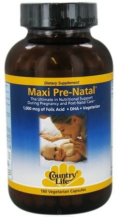 DROPPED: Country Life - Maxi Pre-Natal 1,000 mcg of Folic Acid - 180 Vegetarian Capsules CLEARANCED PRICED