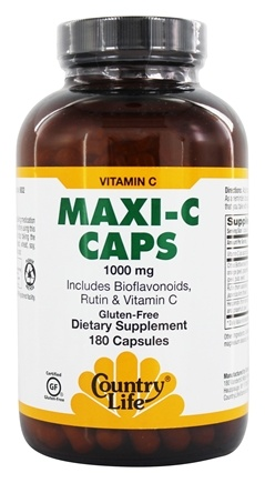Country Life - Maxi-C Caps with Bioflavonoids, Rutin & Vitamin C 1000 mg. - 180 Vegetarian Capsules