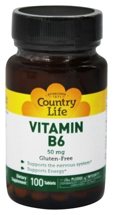 DROPPED: Country Life - Vitamin B-6 50 mg. - 100 Tablets